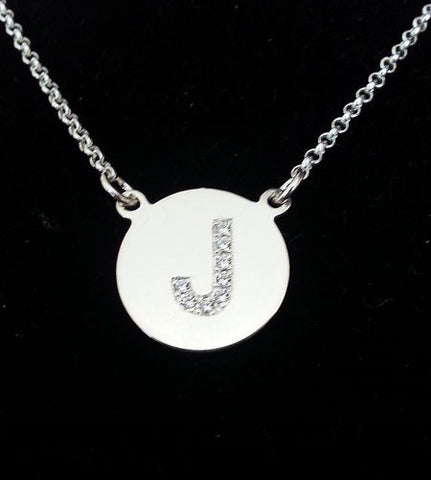 Sterling Silver CZ Initial Necklace by Purple Mermaid Designs Apparel & Accessories > Jewelry > Necklaces