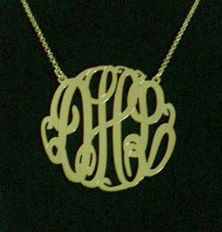 Big Slim Gold Monogram Necklace by Purple Mermaid Designs Apparel & Accessories > Jewelry > Necklaces - 4