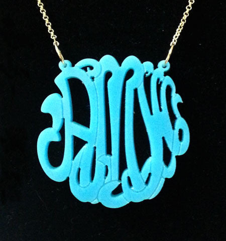 Acrylic Script Monogram Necklace on Split Chain-Purple Mermaid Designs Apparel & Accessories > Jewelry > Necklaces - 1