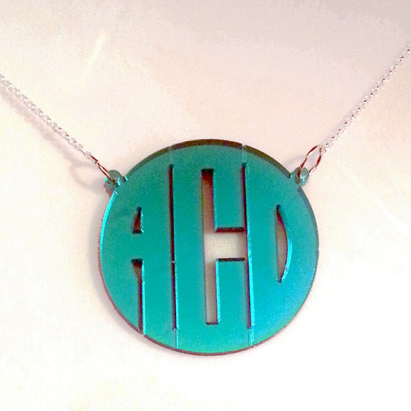 Acrylic Block Monogram Split Chain Necklace-Purple Mermaid Designs Apparel & Accessories > Jewelry > Necklaces - 3