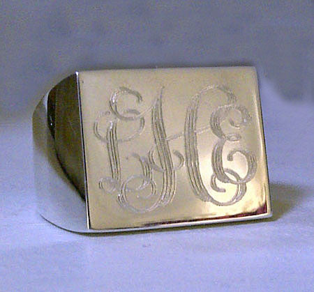 Sterling Silver Engraved Rectangle Signet Ring-Purple Mermaid Designs Apparel & Accessories > Jewelry > Rings - 1
