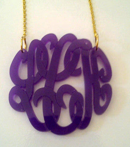 Acrylic Script Monogram Necklace on Split Chain-Purple Mermaid Designs Apparel & Accessories > Jewelry > Necklaces - 5
