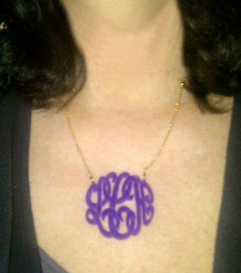 Acrylic Script Monogram Necklace on Split Chain-Purple Mermaid Designs Apparel & Accessories > Jewelry > Necklaces - 6