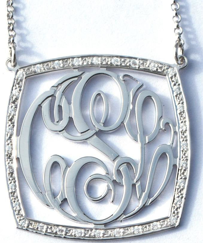 Sterling Silver CZ Square Rimmed Necklace by Purple Mermaid Designs Apparel & Accessories > Jewelry > Necklaces