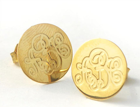 Round Engraved Monogram Earrings by Purple Mermaid Designs Apparel & Accessories > Jewelry > Earrings