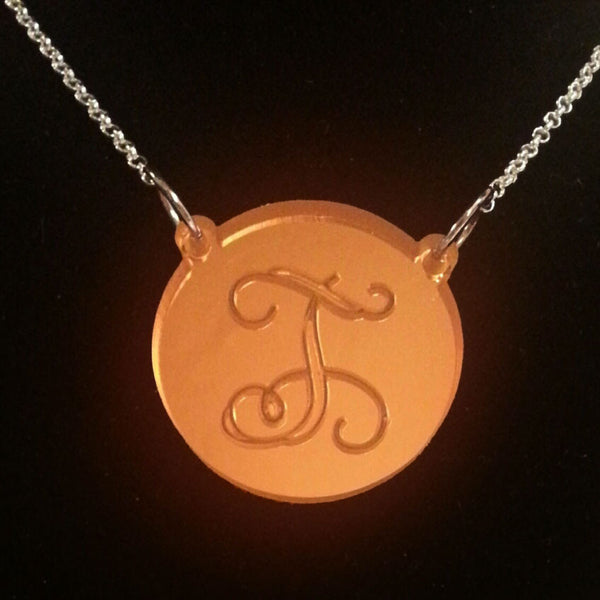 Acrylic Engraved Disc Split Chain Necklace-Purple Mermaid Designs Apparel & Accessories > Jewelry > Necklaces - 1