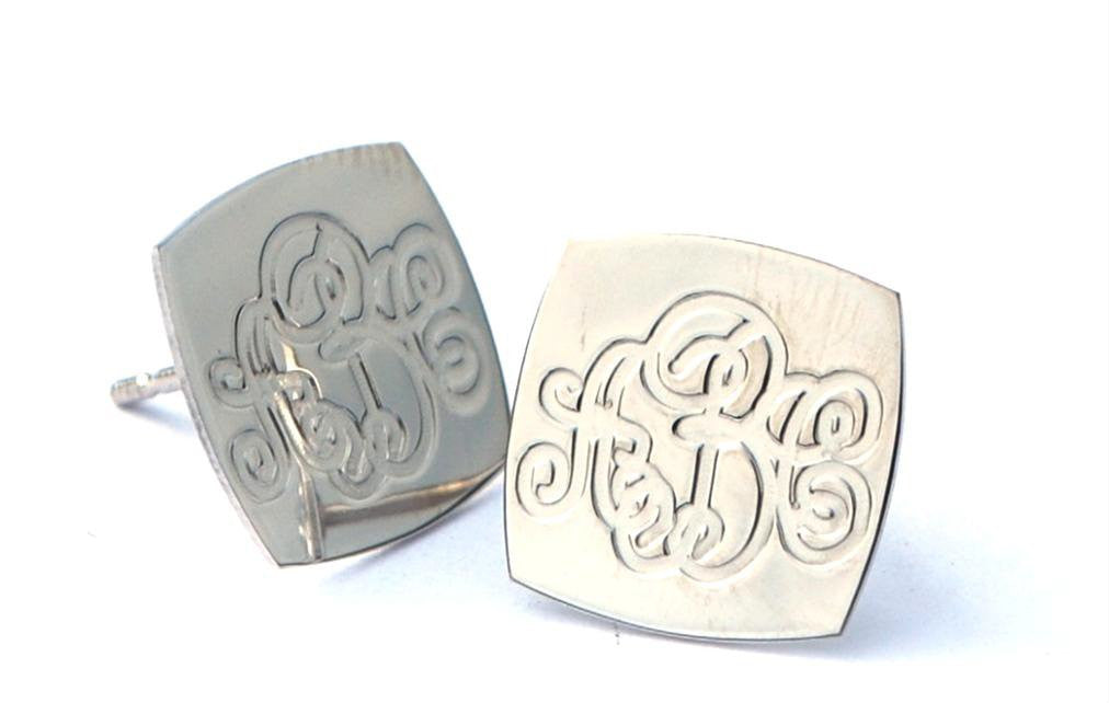 Square Engraved Monogram Earrings by Purple Mermaid Designs Apparel & Accessories > Jewelry > Earrings