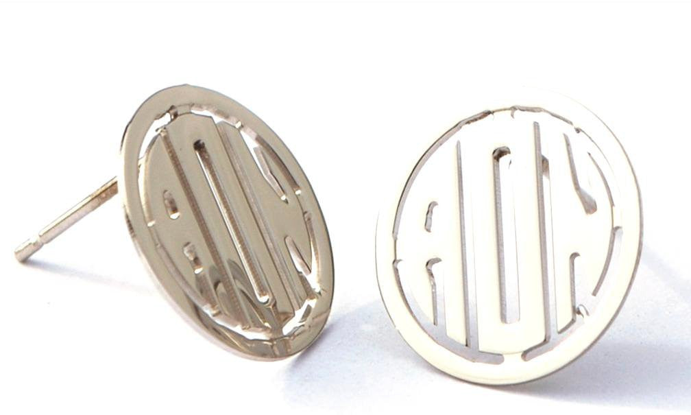 Round Rimmed Block Monogram Earrings by Purple Mermaid Designs Apparel & Accessories > Jewelry > Earrings