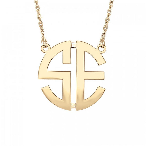 Two Initial Block Monogram Necklace Apparel & Accessories > Jewelry > Necklaces - 2