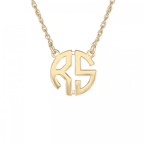 Two Initial Block Monogram Necklace Apparel & Accessories > Jewelry > Necklaces - 3