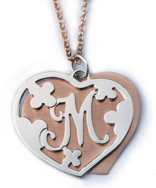 Mixed Metal Double Heart Initial Necklace by Purple Mermaid Designs Apparel & Accessories > Jewelry > Necklaces - 2