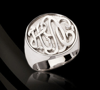 Jane Basch Personalized Sterling Silver Round Signet Ring Apparel & Accessories > Jewelry > Rings - 1