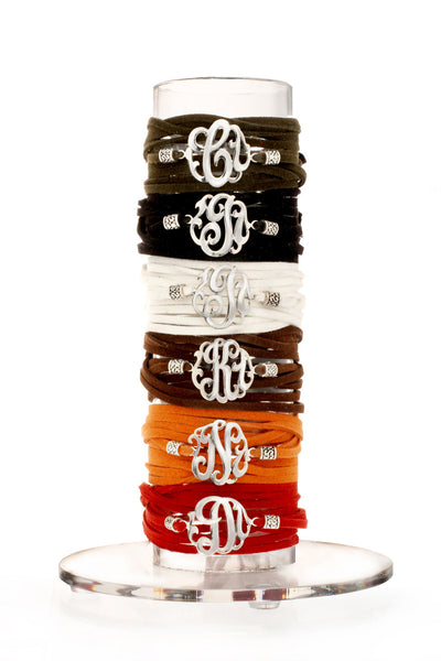 Leather Wrap Initial Bracelet-Lots of Colors-Shame on Jane Apparel & Accessories > Jewelry > Bracelets - 2