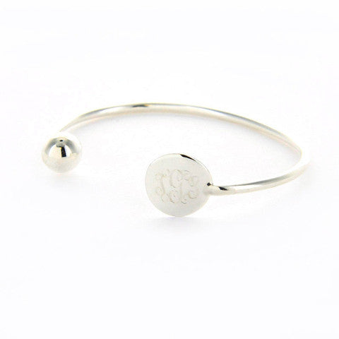Personalized Sterling Silver Plate Cuff Bracelet with Ball Apparel & Accessories > Jewelry > Bracelets - 1