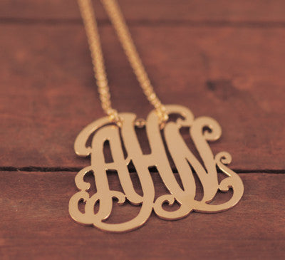 Caja Gold Custom Monogram Lace Necklace Apparel & Accessories > Jewelry > Necklaces