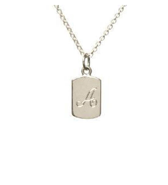 Sterling Silver Dog Tag Initial Necklace Apparel & Accessories > Jewelry > Necklaces