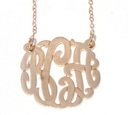 Gold Cutout Monogram Necklace - Split Chain Apparel & Accessories > Jewelry > Necklaces - 2