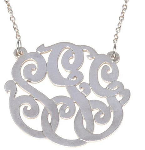 Silver Cutout Monogram Split Chain Necklace Apparel & Accessories > Jewelry > Necklaces