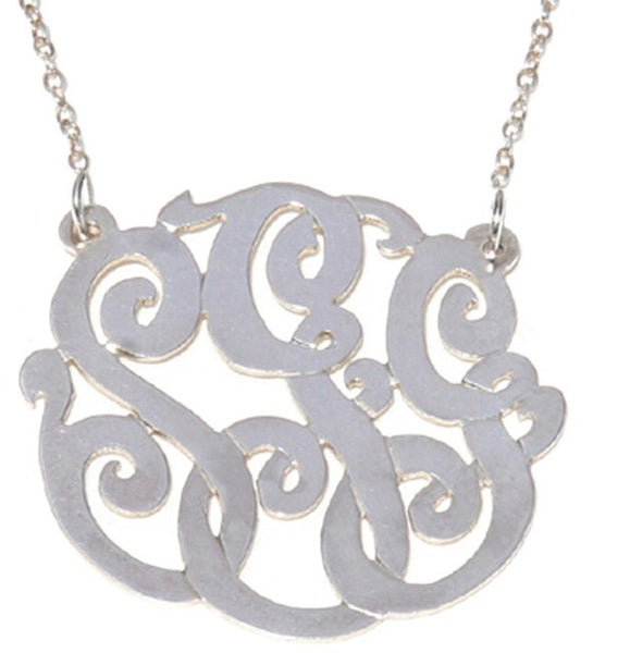 Gold Cutout Monogram Necklace - Split Chain Apparel & Accessories > Jewelry > Necklaces - 3