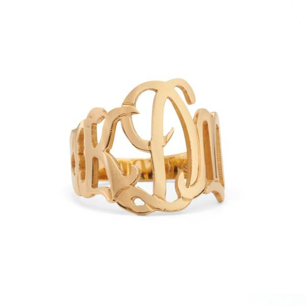 Moon and Lola Sterling Silver Cutout Monogram Ring Apparel & Accessories > Jewelry > Rings - 2