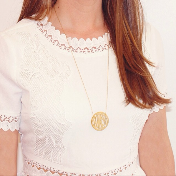 Cheshire Rimmed Monogram Necklace - Moon and Lola Apparel & Accessories > Jewelry > Necklaces - 3