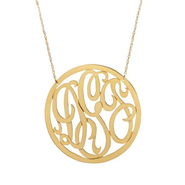 Cheshire Rimmed Monogram Necklace - Moon and Lola Apparel & Accessories > Jewelry > Necklaces - 1