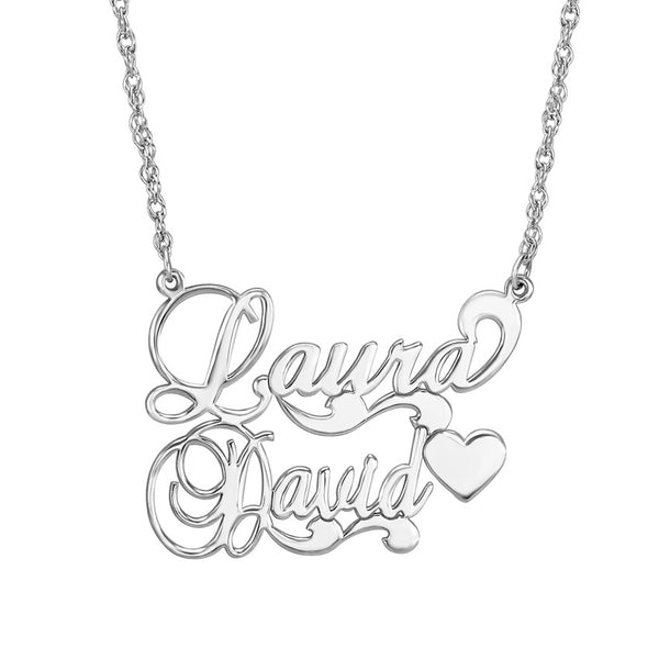 Couples Nameplate Necklace - Scroll Heart Apparel & Accessories > Jewelry > Necklaces - 2