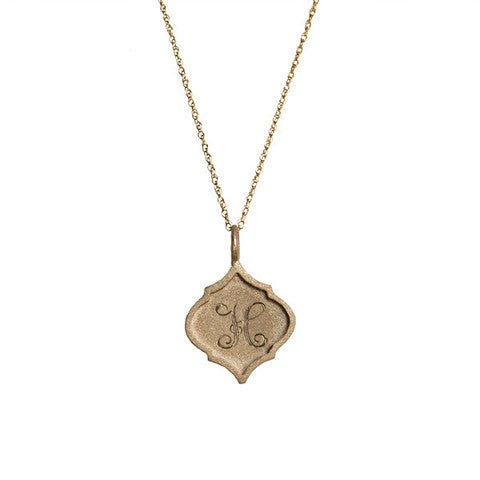 14K Gold Small Edge Crest Monogram Necklace Apparel & Accessories > Jewelry > Necklaces - 2