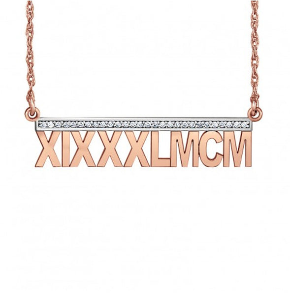Roman Numeral Necklace - Diamond Accents - rose gold