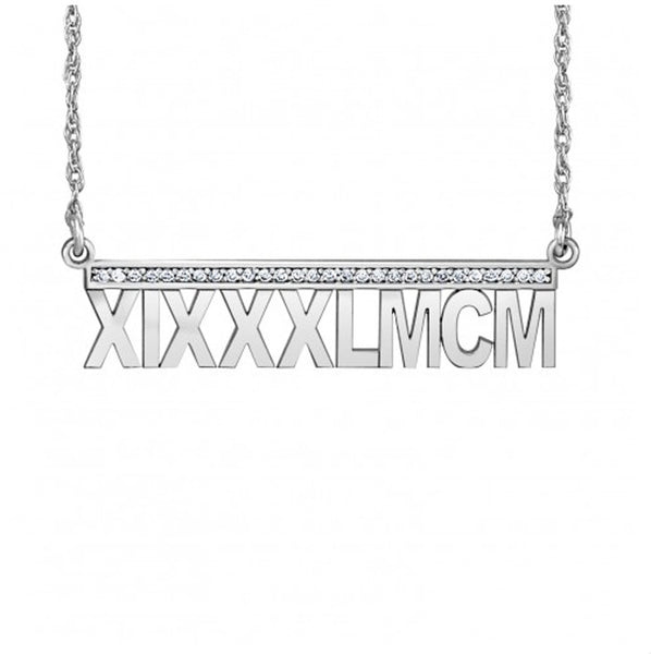 Roman Numeral Necklace - Diamond Accents - sterling silver
