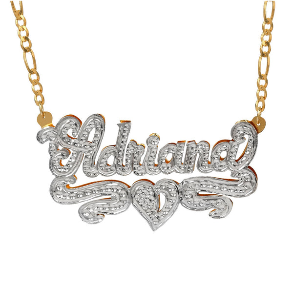 Custom 3D Double Plated Cutout Name Necklace