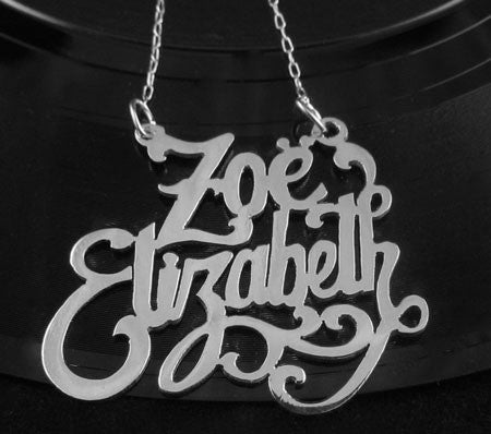 Gold Custom Double Nameplate Necklace Apparel & Accessories > Jewelry > Necklaces - 2