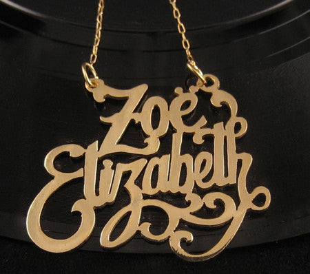 Gold Custom Double Nameplate Necklace Apparel & Accessories > Jewelry > Necklaces - 1