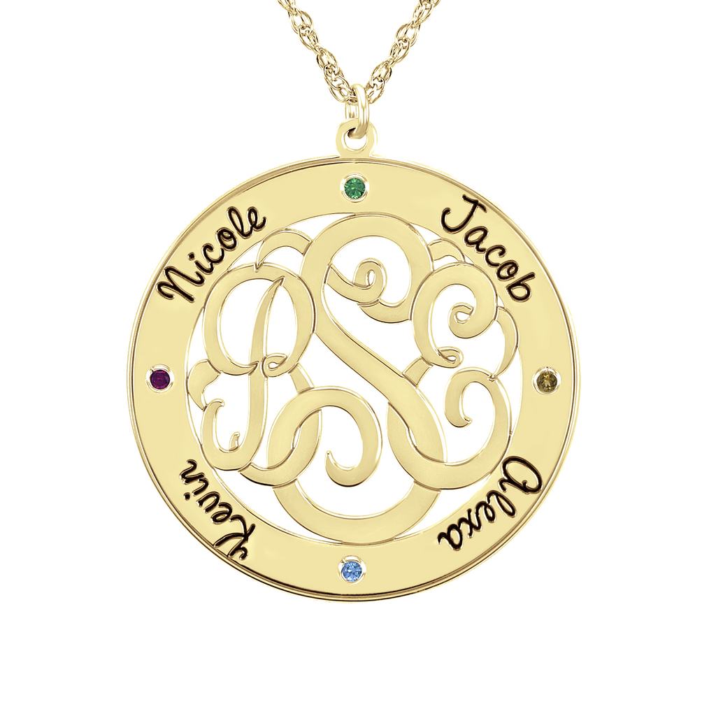Classic Border Round Monogram Birthstone Necklace Apparel & Accessories > Jewelry > Necklaces - 1