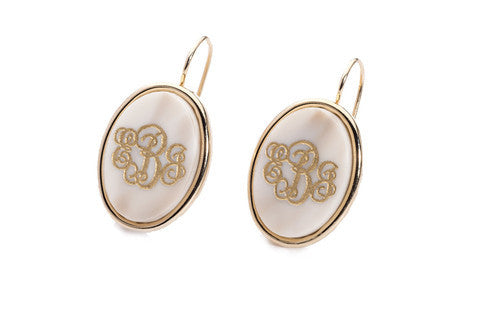 Acrylic Vineyard Oval Monogram Dangle Earrings by Moon and Lola Apparel & Accessories > Jewelry > Earrings - 1
