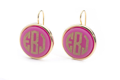 Acrylic Vineyard Round Monogram Dangle Earrings by Moon and Lola Apparel & Accessories > Jewelry > Earrings - 1