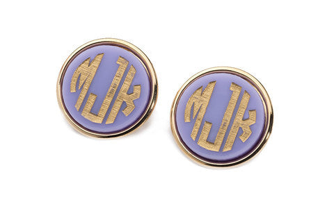 Acrylic Vineyard Round Block Monogram Post Earrings by Moon and Lola Apparel & Accessories > Jewelry > Earrings - 1