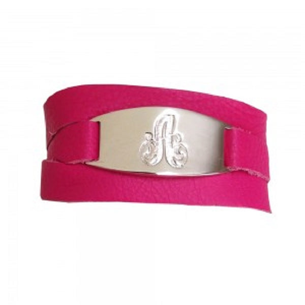 Lisa Stewart Silver and Leather Wrap Initial Bracelet