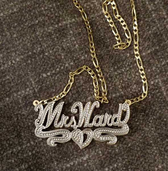 Custom 3D Double Plated Cutout Name Necklace 2
