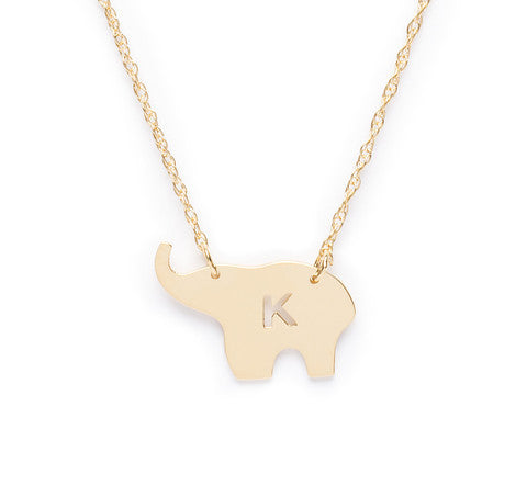Moon and Lola Nala Elephant Initial Necklace Apparel & Accessories > Jewelry > Necklaces - 1
