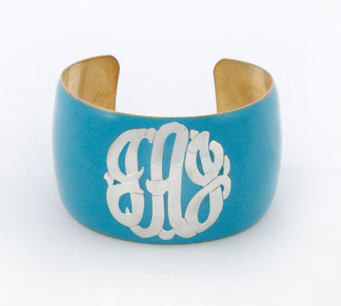 Enamel Monogram Cuff Bracelet Apparel & Accessories > Jewelry > Bracelets - 1
