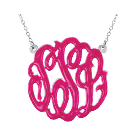 Sterling Silver Enamel Monogram Split Chain Necklace Apparel & Accessories > Jewelry > Necklaces - 1