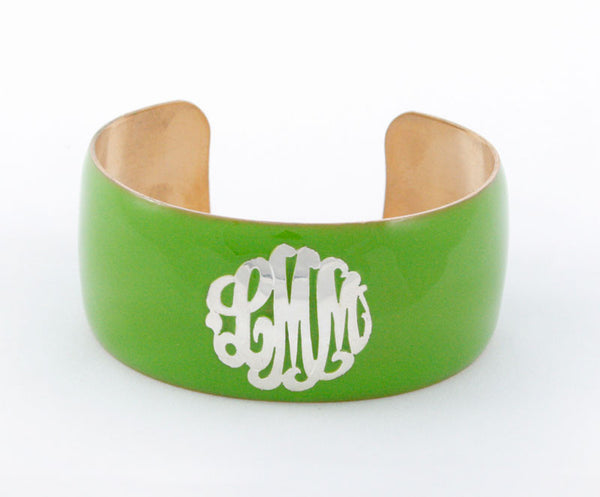 Enamel Monogram Cuff Bracelet Apparel & Accessories > Jewelry > Bracelets - 2