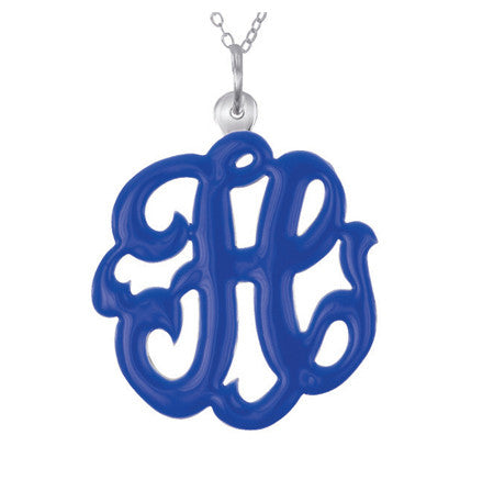 Sterling Silver and Enamel Swirly Initial Necklace Apparel & Accessories > Jewelry > Necklaces - 1