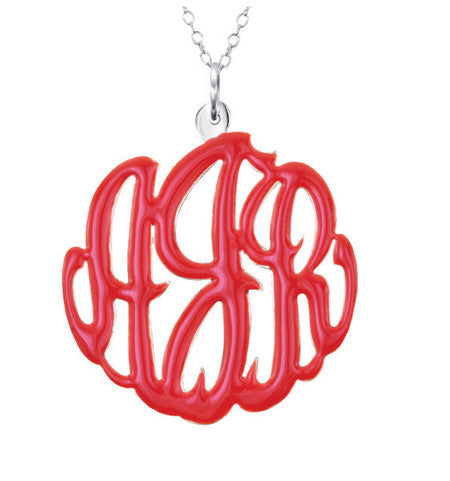 Sterling Silver Enamel Monogram Necklace Apparel & Accessories > Jewelry > Necklaces - 1