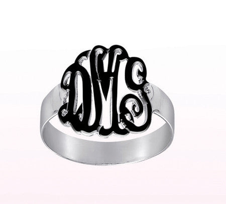 Sterling Silver and Enamel Monogram Ring Apparel & Accessories > Jewelry > Rings - 1