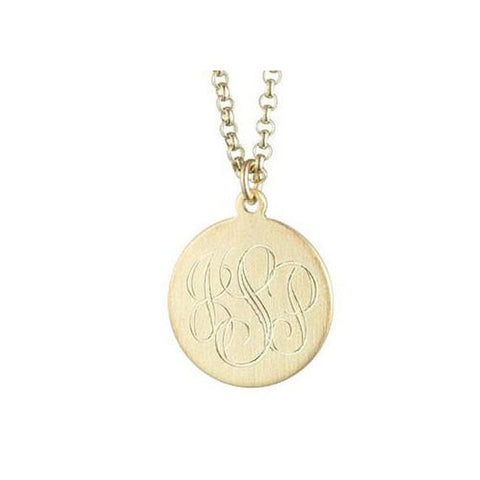 5/8 Inch 12K Gold Plated Engraved Disc Necklace Apparel & Accessories > Jewelry > Necklaces