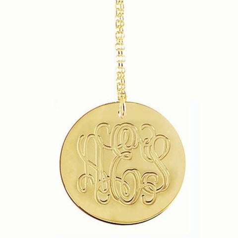 1 Inch 12K Gold Plated Engraved Disc Necklace Apparel & Accessories > Jewelry > Necklaces