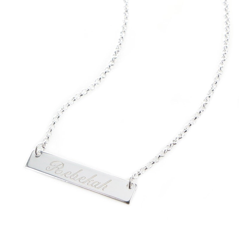 Personalized Silver Plated Horizontal Bar Necklace Apparel & Accessories > Jewelry > Necklaces - 1
