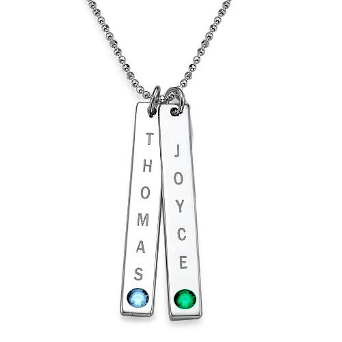 Engraved Vertical Bar Necklace with Birthstone 2